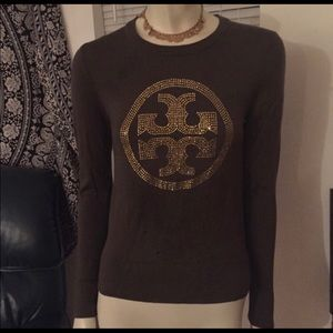 Tory Burch Olive/Brown Rhinestoned L/S Sweater M